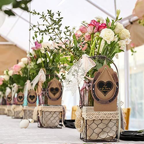 Omabeta Faveurs de Mariage Bronze foncé Polissage Fournitures de fête de Mariage Conception de Chanvre étiquettes Kraft pour Cadeau d'invité de Mariage Cadeau de noël