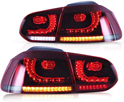 VLAND Rückleuchten für Golf 6 MK6 VI GTI GTD R TSI TDI 2008-2013 Heckleuchten mit sequentiellem Dynamik Blinker,PLUG AND PLAY,Rot und geräuchert
