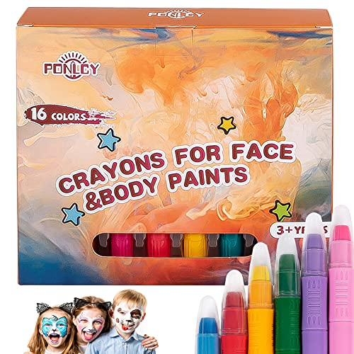 PONLCY Face Paint Crayons for Kids, 16 Colors Face Paint Kit, Washable Face & Body Paint Markers with Brushes & Stencils, Easter Halloween Party Cosplay Makeup