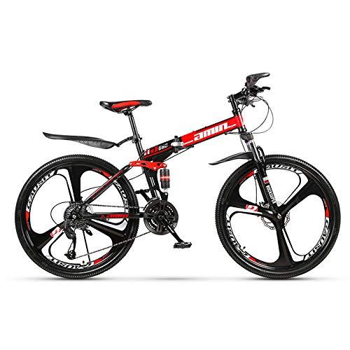 Bicicleta de montaña de 26 Pulgadas, 21/24/27 / 30-Velocidad variable/3 Radios/Absorción de Impactos /Frenos de Doble disco, Mtb para Adultos que Viajan Fuera de Viajes deportivos,Red,24-Speed