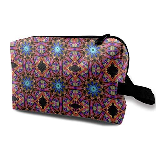Blue Drop Mandala_2480 Makeup Organizer Cosmetic Bag Pouch Cosmetic Make Up Organizer PU Women Girls Blue Flowers