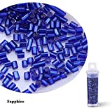 PENVEAT 2 mm 30 g/Lote 11 Colores Espaciador de Semillas de Vidrio Cuentas de Tubo de Cristal para fabricación Artesanal de Prendas de Bricolaje 15 g/Botella, Zafiro -15 g