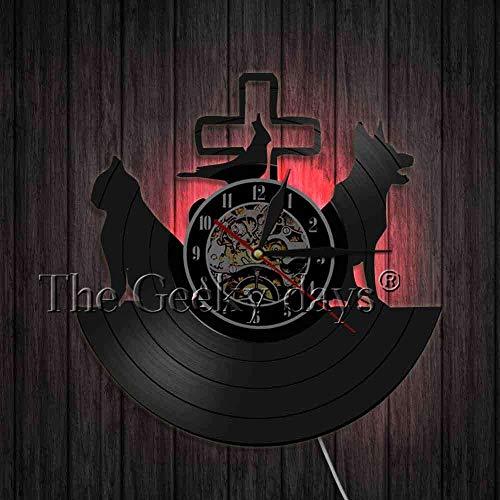 xcvbxcvb Clínica Veterinaria Animal Vet Vinilo 3D Reloj de Pared Vinilo Registro Recortado Reloj Reloj Pared Arte decoración