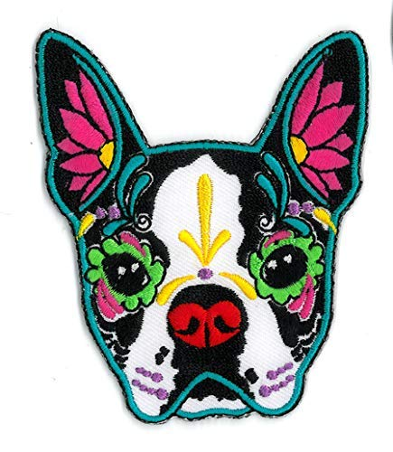 CALI Original Artwork, Pretty in Ink French Bulldog - Embroidered Iron On Patch, 3.5'