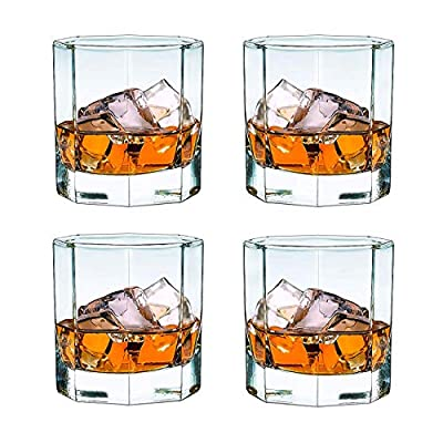 Whiskey Glasses Set Of 4 - Old Fashioned Glass - Thick Weighted Bottom Cocktail Glass -10 Oz Iced Tea Beverage Glass