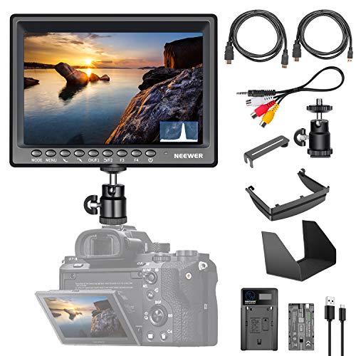 Neewer F200 17cm 1080P Full HD 1920x1200 Pantalla IPS Cámara Monitor Campo para 4K HDMI Entrada Histograma con 2600mAh Batería Li-Ion/Cargador USB para DSLR GH5 Sony A7S, etc.