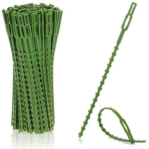 com-four® Liant végétal en Plastique Vert 200x - Stabilise Les Plantes - Ruban de Reliure pour Arbres - Fixation pour Plantes - Pinces à Plantes, 17 cm