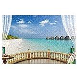 Sierra calar de 1000 Piezas,Cortinas Balcón Playa Maldivas,Juegos Rompecabezas imágenes para Adultos y niños Regalo graduación de Boda Familiar