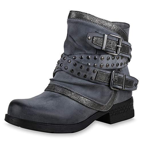 SCARPE VITA Damen Stiefeletten Biker Boots Leicht Gefütterte Schuhe Metallic 169171 Grau 36