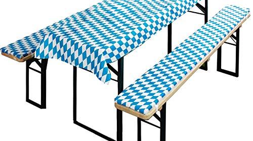 BrandssellerBierbankauflagen-Set passend für gängige Biertische und Bänke 2 gepolsterte Bankauflagen (Bank 220x25x1,6 cm - Decke 240x70 cm, Bavaria-Blau)