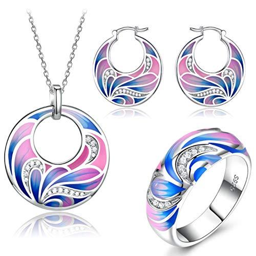 XIRENZHANG Conjunto de joyas de plata de ley 925 para mujer, hecho a mano, esmalte de flor, circonita, colgante, anillo y anillo de 3 piezas, color rosa 7#