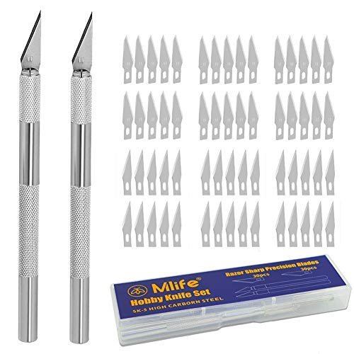 Mlife Precision Carving Craft Messer Set 60 Ersatzklingen Skalpell Schnitzmesser für DIY Art Work Cutting