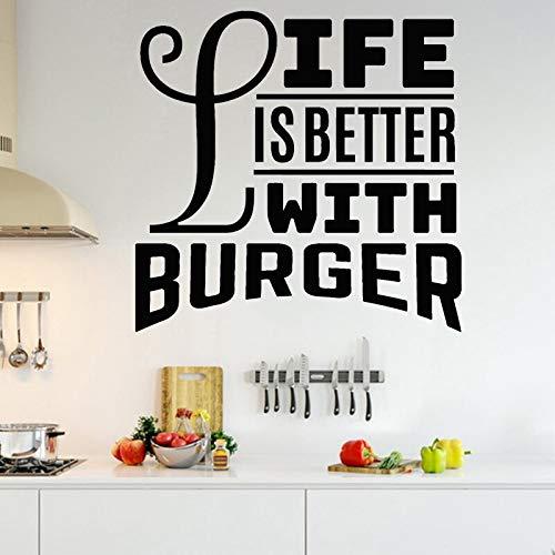 Calcomanía de hamburguesa para restaurante, decoración de ventana de restaurante de comida rápida, pegatina de vida hermosa, pared de tienda creativa A7 57x58cm