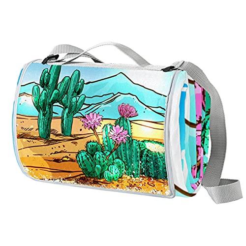 Vito546rton Manta impermeable portátil al aire libre del desierto con impresión de plantas de picnic con correa para acampar senderismo hierba viajar 57x59in