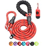 BAAPET 6 Feet Slip Lead Dog Leash Anti-Choking with Upgraded Durable Rope Cover and Comfortable Padded Handle for Large, Medium, Small Dogs Trainning with Poop Bags and Dispenser (Red)