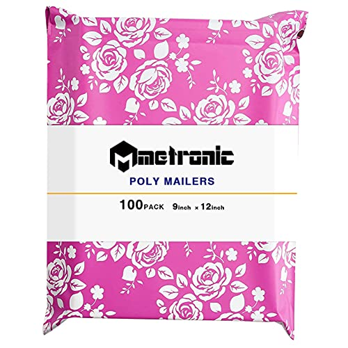 Metronic Poly Mailers 9X12 Rose Floral Pattern 100 Pack Poly Mailers Envelope Plastic Custom Mailing & Shipping Bags for Valentine's Day - Self Seal in Pink