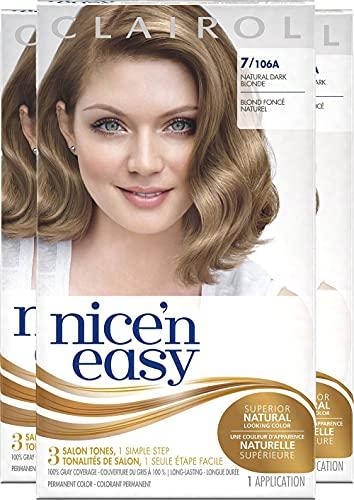 Clairol Nice'n Easy Permanent Hair Color, 7 Dark Blonde, Pack of 3 (Packaging May Vary)