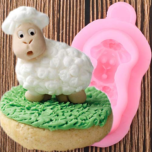 ZZYOU Sheep Silicone Mold Diy Birthday Fondant Cake Decoration Tool Cake Baking Mold Clay Candy Chocolate Mold
