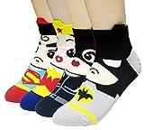 JJMax Women's Superheroes and Villains Cute Cartoon Hero Socks Set, Short Ankle Heroes, One Size