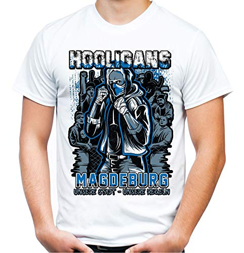 Hooligans Magdeburg Männer und Herren T-Shirt | Fussball Ultras Osten Fan (XXL, Weiß)