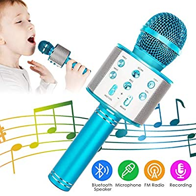 KIDWILL Wireless Bluetooth Karaoke Microphone, 5-in-1 Portable Handheld Karaoke Mic Speaker Player Recorder with Adjustable Remix FM Radio for Kids Adults Birthday Party KTV Christmas (Blue)