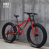 GXLO Bicicletas 24/26 Pulgadas MTB Top Bicicleta de montaña de neumáticos de Grasa Crucero de la Playa Fat Tire Bike Nieve Bicicleta de Bicicletas Velocidad,Rojo,26 Inch 24 Speed