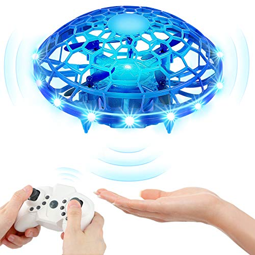 Mini Drones for Kids, KAQINU Multiple Remote Controls-Hand Operated RC Quadcopter, LED Hands Free UFO Hand Controlled Flying Ball Toys Gifts for Boys and Girls