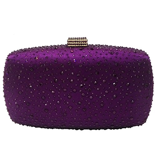Diamond Women Evening Purse Minaudiere Clutch Bag (Purple)