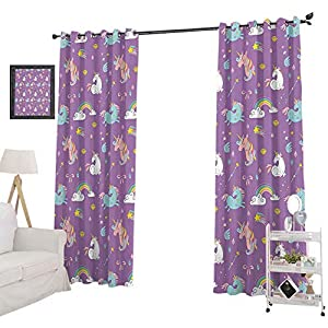 YUAZHOQI Window Treatment Curtains Unicorn and Rainbows Diamonds Wand Pattern Nursery Room Baby Girl Legendary Crea, Blackout Curtains for Nursery 52″ x 72″, Multi
