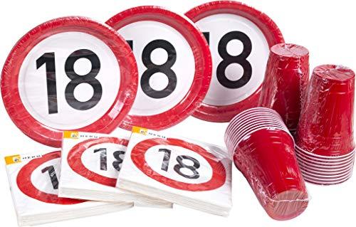 Heku 30005-18: Party-Einweg-Set mit Tellern, Bechern und Servietten, 120-teilig, 18. Geburtstag