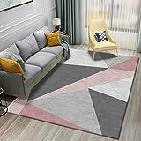 Simmia Home Alfombra De Salón Diseño Moderna Triángulo geometría Gris Rosa Blanco Rugs para Salón habitación Dormitorio Antideslizante Interior al Aire Libre, Tamaño: 140 * 200CM