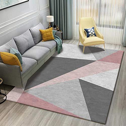Simmia Home Moderne Tapis Design à Contours Géométrie Triangle Gris Rose Blanc Tapis de Salon Moderne avec Bordure pour Le Salon Chambre Facile d