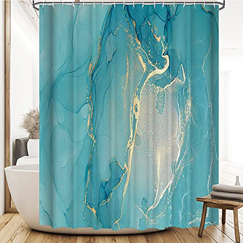 Teal Marble Fabric Shower Curtain Teal Blue Abstract Marble Gold Power Splash Flush Pastel Luxury Waterproof Bathroom Decor Accessories Polyester Curtain with Hooks Machine Washable 72 x 72 inches