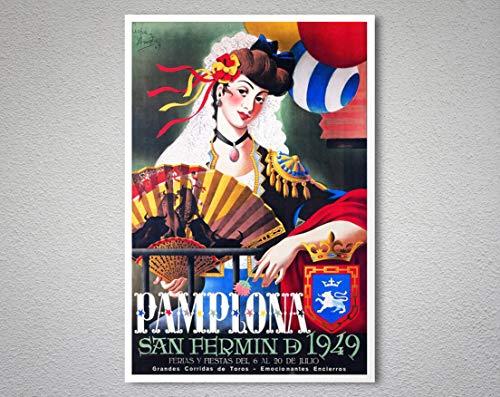 Póster de viaje vintage de Pamplona Saint Fermin, 1949 sin marco, lienzo – cita motivacional para decoración del hogar