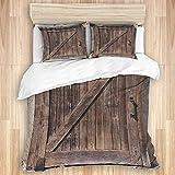 JISMUCI Juego de Funda nórdica de algodón,Puerta de Madera corrediza Antigua Vintage Textura de Tablero marrón rústico,3 Piezas Juego de Cama Suave de Lujo