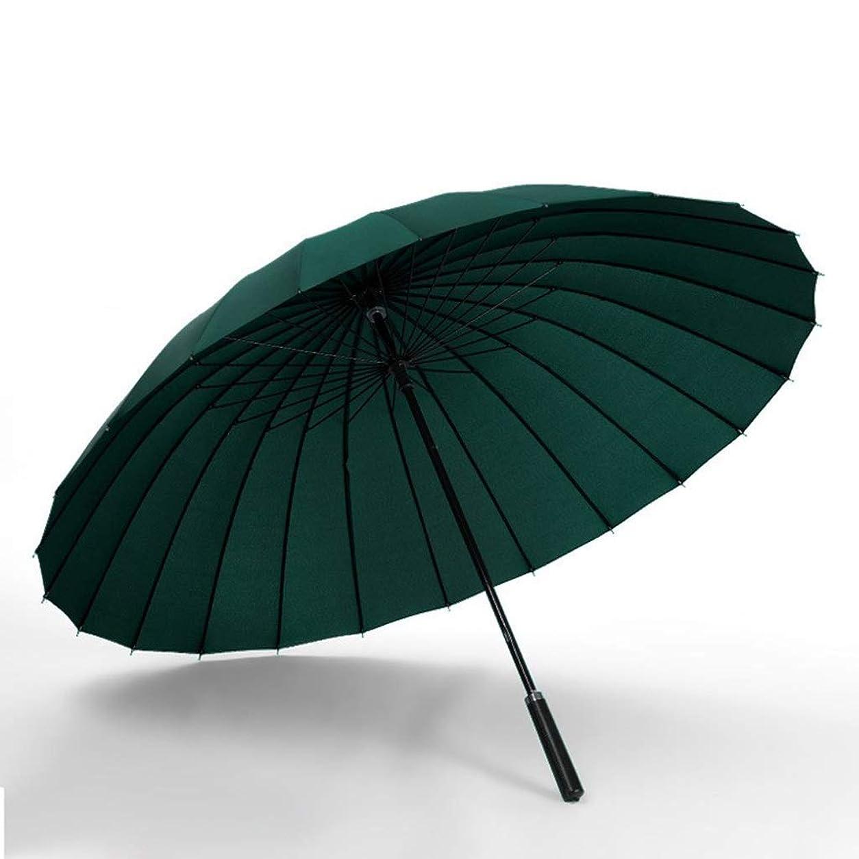 フットボール教育少ないDCCRBR ロングハンドル傘ブラックストレートハンドル防風ビジネス傘24骨大二重強化防風インクグリーン85センチメートルマニュアル 防水傘