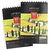Arteza Cuadernos de dibujo A5 | Pack de 2 blocs de 50 hojas cada uno | Papel grueso de 130g con 14,8 x 21cm | para dibujo artístico con medios secos