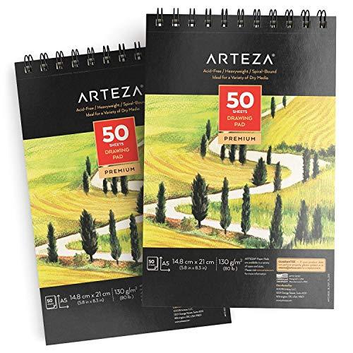 Arteza Blocco da Disegno A5 Professionale 14,8x21,0 cm, Set da 2 Pezzi, Album Spiralato da 50 Fogli 130g/m², Carta Bianca