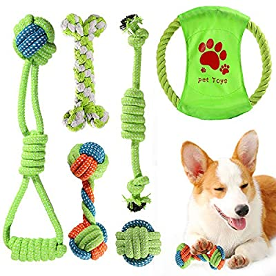 ACE2ACE Puppy Dog Chew Toys, 6 Pcs Chew Toys for Medium to Small Dog, 100% Natural Cotton, Ball Rope and Chew Toys