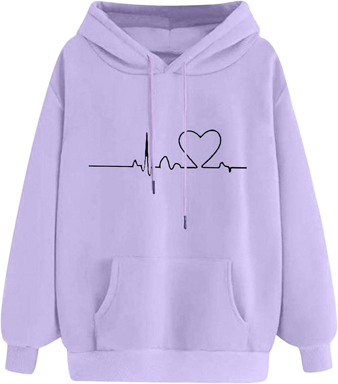 Women Hoodies, Women Faith Graphic Hope Love Heartbeat Pattern Long Sleeve Sweatshirt with Pockets Sweatshirts