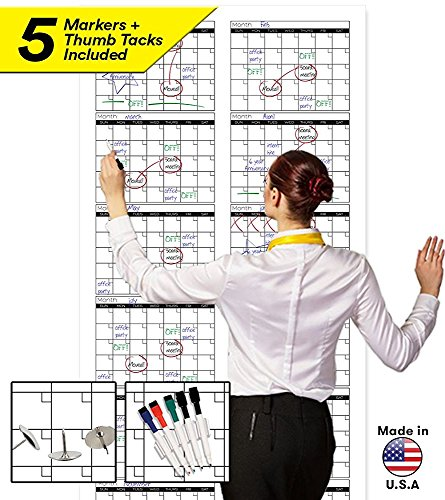 "Large Dry Erase Wall Calendar - Premium Giant Reusable Yearly Calendar - Oversized Whiteboard Annual 12 Month UNDATED Planner - 36""x72"""