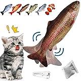 UHottest猫用ぬいぐるみ 魚おもちゃ、電動魚 USB充電式、キャットニップ おもちゃ 猫のおもちゃ インタラクティブな面白いペットの噛むおもちゃ咬む猫用品 運動不足 ストレス解消 ペットおもちゃ (ニジマス)
