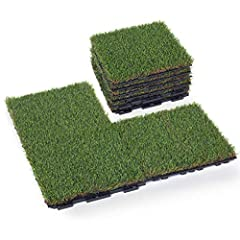 You will receive 9 pieces of 1'x1' interlocking grass deck tiles, total 9 sq ft. Grass info: 1 inch pile height, looks like real grass! Back info: PP with lock-in system. Top quality grass deck tiles. Very durable with low maintenance and no need for...