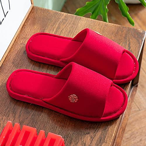 LLly Zapatillas De Boda Rojas Adultas, Zapatos De Algodón Interior De Piso...
