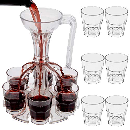 Shot Dispenser   Comes With 6 Acrylic Shot Glasses   Pours 6 Shots at Once   Great for Parties, Pre-games, Drinking Games   Easily Serve Liquor With Shot Glass Dispenser   Makes a Great Gift!