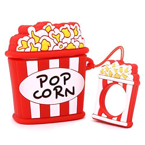 YONOCOSTA Custodia per Airpods Carina, Custodia per Airpods 2, Custodia per Popcorn con Riso soffiato e Divertente Cartone Animato 3D Custodia di Ricarica in Silicone Morbido Antiurto con Portachiavi