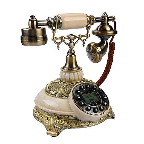 PUSOKEI Teléfono Retro, teléfono Antiguo de Estilo Europeo, teléfono Antiguo con cancelación de Ruido y rellamada con un botón, Compatible con FSK/DTMF, para Oficina en casa