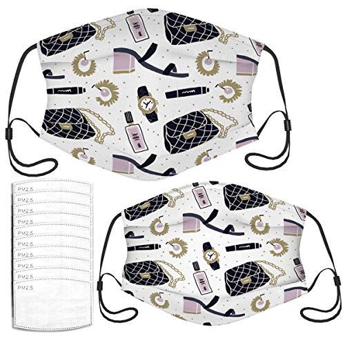 Face Mask Set of Fashion Accessories Flatlay Seamless Cute Masks Set