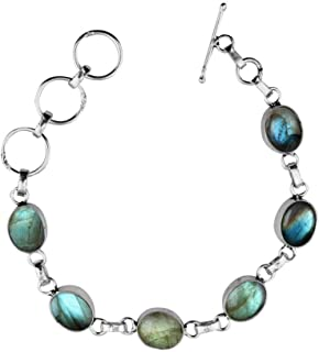 Natural Labradorite Bracelet Sterling Silver Gift for Her Men Women Teens Wife Mom Girlfriend