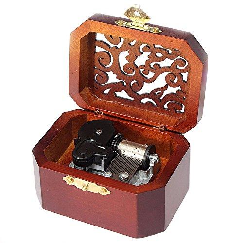 FnLy - Caja musical de madera con grabado antiguo, caja musical de Love Story, con movimiento chapado en plata, octogonal